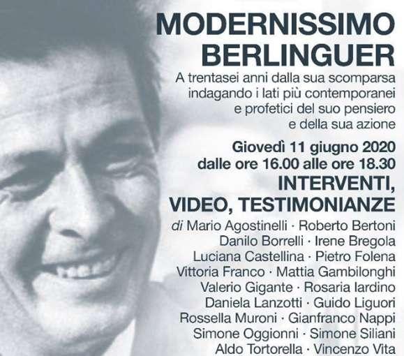 """Modernissimo Berlinguer"" giovedì 11 giugno 2020 in streaming"